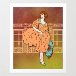 AUDREY: Art Deco Lady in Orange and Aqua Art Print