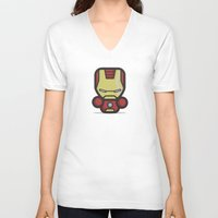 ironman V-neck T-shirts featuring Ironman by MaNia Creations