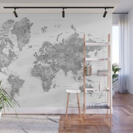 Grayscale watercolor world map with cities Wall Mural