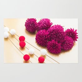 Beautiful red Chrysanthemum flowers for Japanese New Year background image Rug