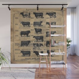 Vintage 1896 Cows Study on Antique Lancaster County Almanac Wall Mural