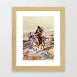 """""""Indian With Spear """" by Charles M Russell Framed Art Print"""