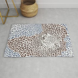 Pattern seampless leopard fur and face with map of Africa Rug
