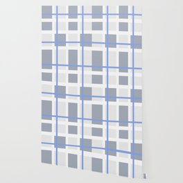 Retro Abstract Plaid Blue and Gray Wallpaper