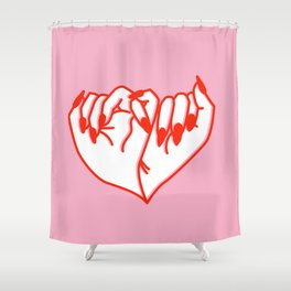 Best Friend Galentine's Day Pinky Promise Solo in Pink Shower Curtain