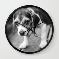 puppy Wall Clocks featuring Puppy! by Clayton Jones