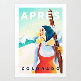 """Apres Ski Colorado"" Cool Vintage Pinup Girl Skiing Design Art Print"