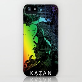 Kazan, Russia, City, Map, Rainbow, Map, Art, Print iPhone Case