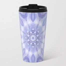 Light Blue, Lavender & White Floral Mandala Travel Mug