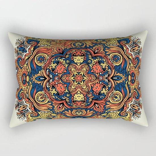Orange Indian Mandala Rectangular Pillow