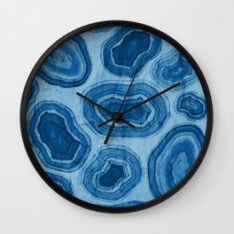 Blue Geode Agate Stone Watercolour Wall Clock