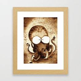 Cuttlefish Clasping Coffee Cups Framed Art Print