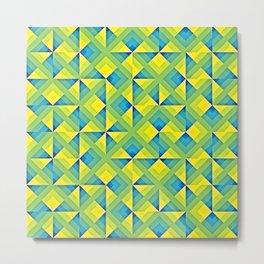 Blue Yellow Geo Pattern Metal Print