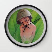 kill la kill Wall Clocks featuring Born to kill by Magdalena Almero