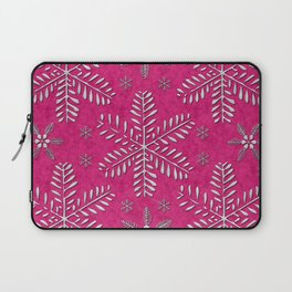 DP044-7 Silver snowflakes on pink Laptop Sleeve