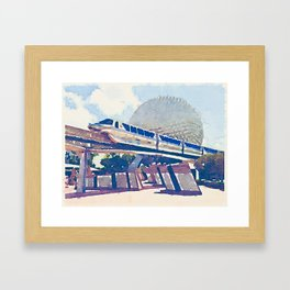 Watercolor monorail through Epcot Framed Art Print