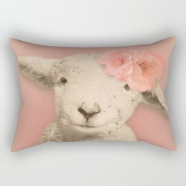 Flower Sheep Girl Portrait, Dusty Flamingo Pink Background Rectangular Pillow