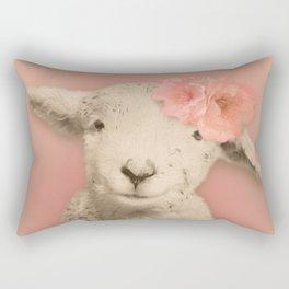 Flower Sheep Girl Portrait, Dusty Flamingo Pink Background Rectangular Pillow