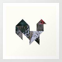 rooster Art Prints featuring ROOSTER by TANGRAMMAR
