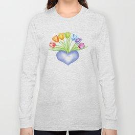 Rainbow Tulips with Heart Long Sleeve T-shirt