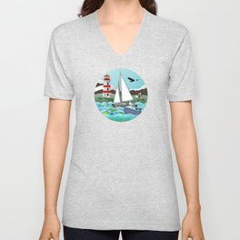 Coastal Sailing - Nautical Landscape Scene Unisex V-Neck