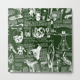 Da Vinci's Anatomy Sketchbook // Myrtle Green Metal Print