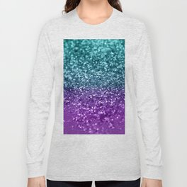 Purple Teal MERMAID Girls Glitter #1 #shiny #decor #art #society6 Long Sleeve T-shirt