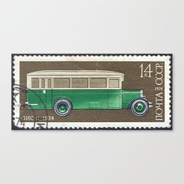 Postage stamp printed in Soviet Union shows vintage car Canvas Print