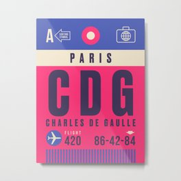 Retro Airline Luggage Tag - CDG Paris Charles de Gaulle Metal Print
