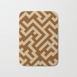 Tan Brown and Chocolate Brown Diagonal Labyrinth Bath Mat