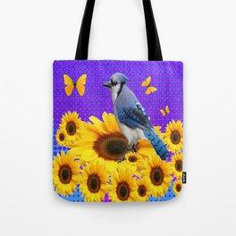 BLUE JAY YELLOW BUTTERFLIES SUNFLOWER ART Tote Bag