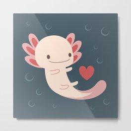 Axolotls, hearts and bubbles Metal Print