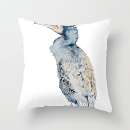 Watercolor Cormorant Painting Throw Pillow