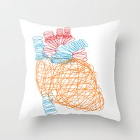 anatomical heart Throw Pillows featuring Anatomical Heart by Media Profunda