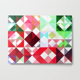 Mixed color Poinsettias 1 Abstract Triangles 1 Metal Print