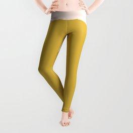 Horizon. Mustard Yellow Sun Dot on Pale Blush Pink and Navy Blue Color Block. Minimalist Geometric Leggings