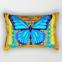 Golden Sunflowers Blue Butterfly black Art Rectangular Pillow