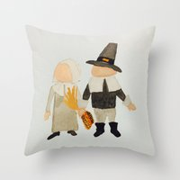 toddler Throw Pillows featuring Thanksgiving Pilgrim Toddler Girl and Boy Couple by PodArtist