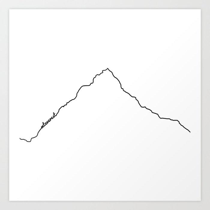 Mt Everest Art Print / White Background Black Line Minimalist Mountain Sketch Kunstdrucke