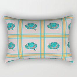 Blue and Orange Gecko Plaid Rectangular Pillow