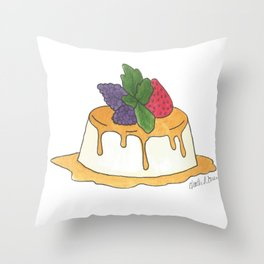 F is for Flan Throw Pillow