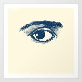 I see you. Navy Blue on Cream Art Print