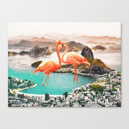 Collage, Flamingo, City, Creative, Nature, Modern, Trendy, Wall art Canvas Print