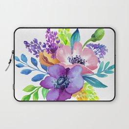 Flores en aquarela Laptop Sleeve