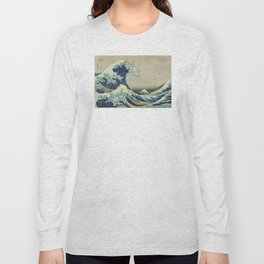 Great Wave Off Kanagawa (Kanagawa oki nami-ura or 神奈川沖浪裏) Long Sleeve T-shirt