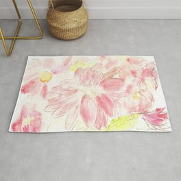 Abstract Red Daisies Rug
