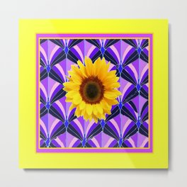 Purple Geometric Sunflower Patterns on Yellow Metal Print