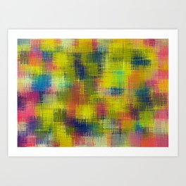 yellow red and blue plaid texture Art Print