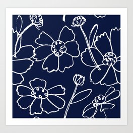 Brushy Floral Celebration in White Ink on Navy Art Print