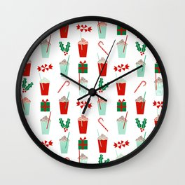 Minimal christmas peppermint latte christmas coffee cafe kitchen foodie pattern print mistletoe Wall Clock